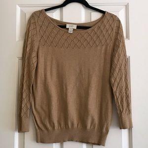 Camel colored Loft sweater argyle detailing